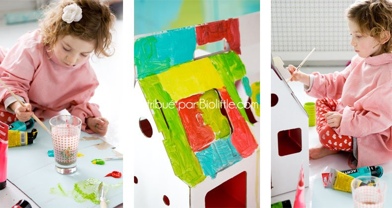 jeu jouet cologique maison en carton d corer. Black Bedroom Furniture Sets. Home Design Ideas
