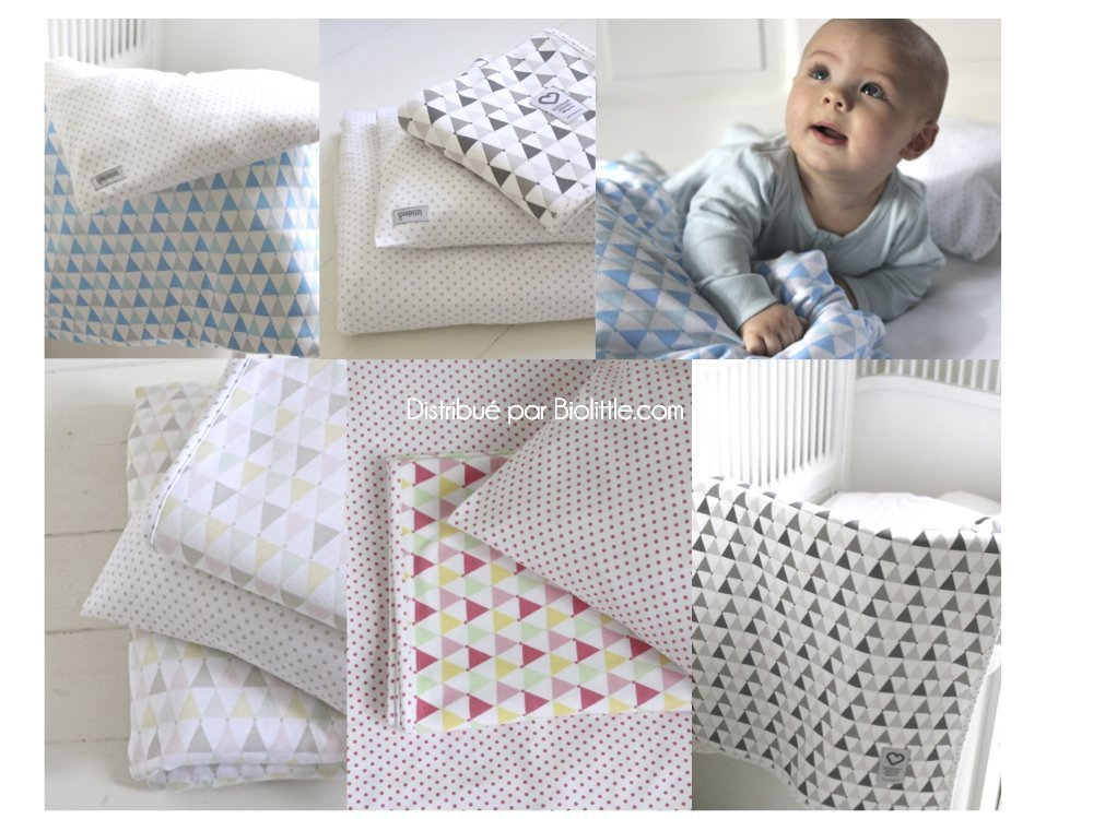 Housse de couette b b bio taie 39 toiles bleues for Housse couette bebe