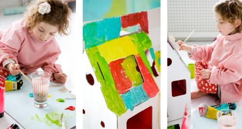 jeu jouet cologique maison en carton d corer 39 mobilehome bleue 39. Black Bedroom Furniture Sets. Home Design Ideas