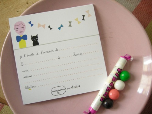 8 cartes d'invitation chat | Fille