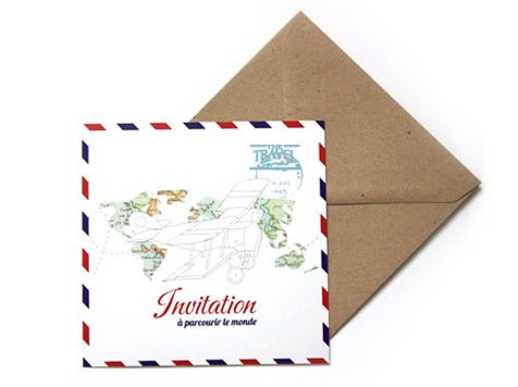 Carte d'invitation 'Avion' - MonkeyChoo