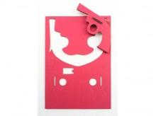 4 petits pistolets en carton roses et design