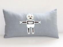 Coussin Robot lin gris bleu