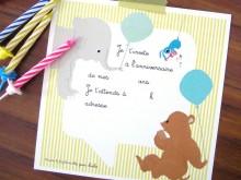8 cartes d'invitation animaux | Garçons