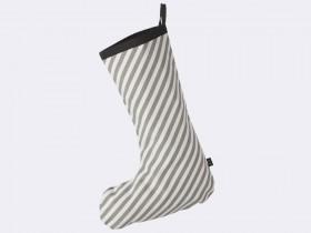 Chaussette de Noël rayures grises en coton - Ferm Living