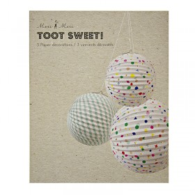 Décoration pour anniversaire : Trois sphères colorées 'Charms'